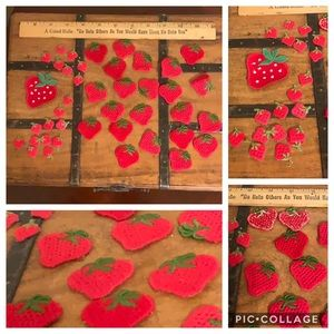 Vintage strawberry appliqués